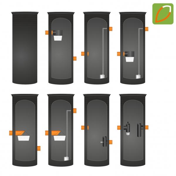 Universalschacht als Pump-, Kontroll-, Filter-, Drainage-, Sedimentations- oder Drosselablaufschacht
